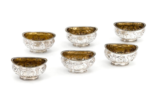 A set of six George III silver salts, by Thomas Pitts,  London 1806,  (6)