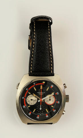 Longines: A stainless steel chronograph manual wind wristwatch Ref:8224-1