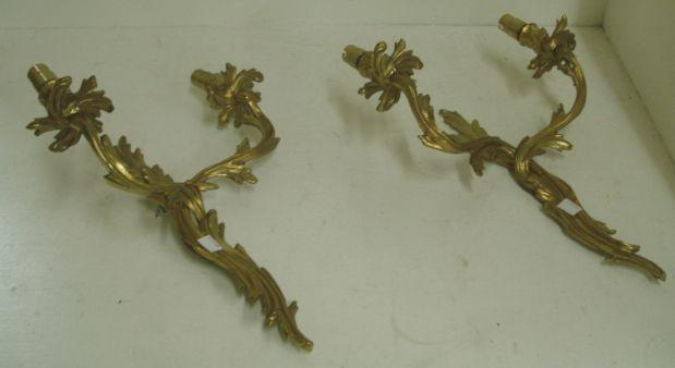 A pair of Louis XV style gilt metal wall applique