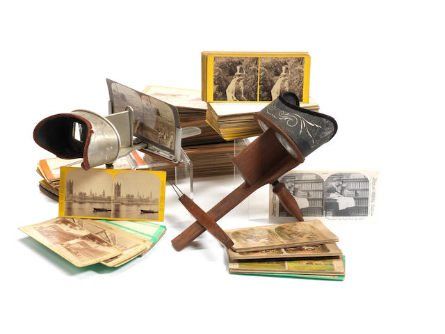 Various small hand-held stereo viewers and cards: