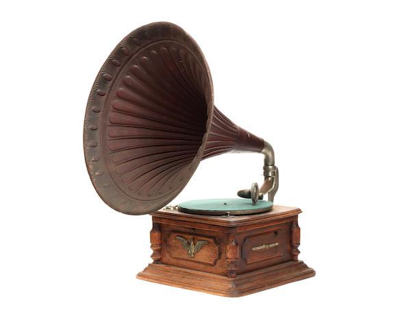 A continental horn gramophone, circa 1920,