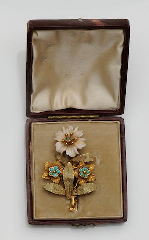 A gem set floral spray brooch