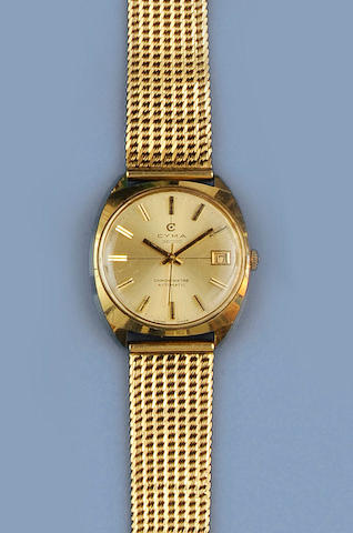Cyma: A gentleman's gold automatic calendar wristwatch