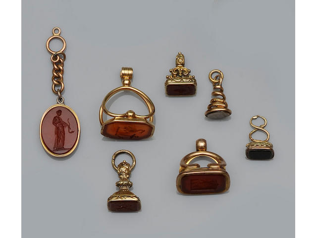 A collection of assorted antique fob seals (16)