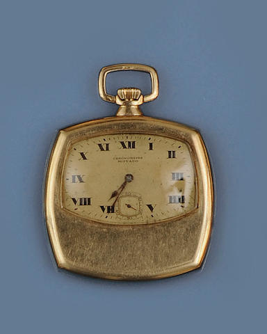 Movado: An 18ct gold square cased pocket watch