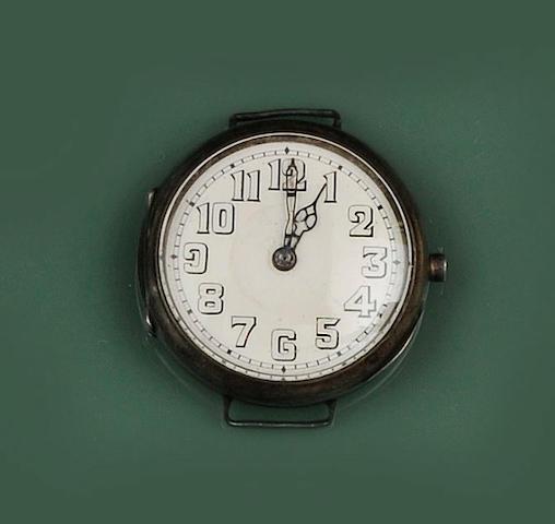 Rolex: A silver manual wind wristwatch London Hallmark for 1916