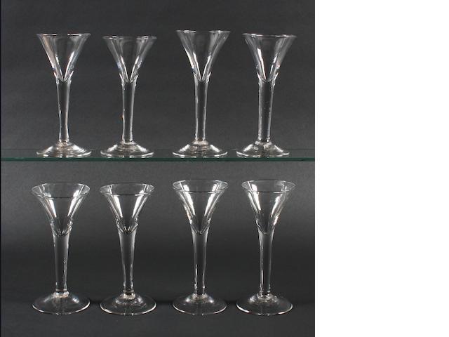 Eight plain stem wine glasses, 18th century