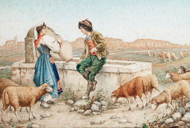 Carlo Ferranti (Italian, 1840-1908) Flirting by the well