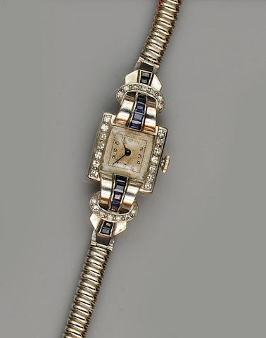 An early 20th century sapphire and diamond cocktail watch