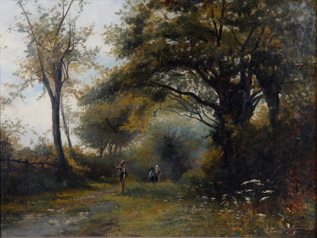 English School, 19th Century Figures picking wood by a stream
