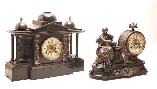 A Victorian bronzed figural mantel clock Inscribed, The Ansonia clock Co. New York, United States of America