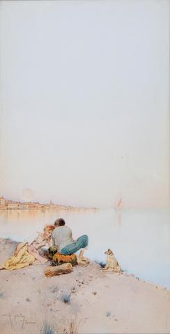 Raffaele Mainella (Italian, 1858-1907) Children resting beside the lagoon, Venice