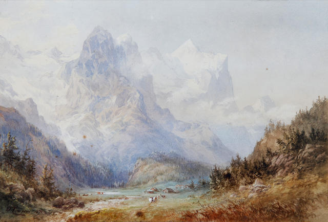 Edward Theodore Compton (British, 1849-1921) Landscape with mountains