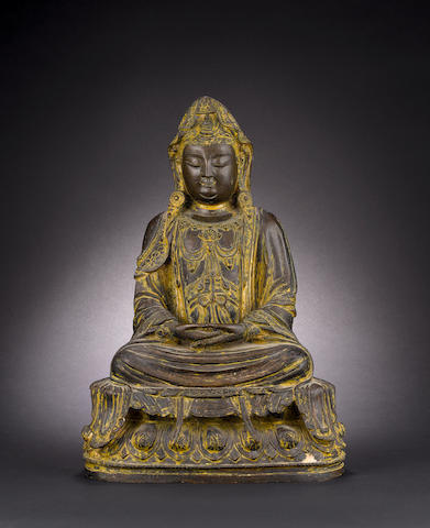 A bronze figure of a Buddhist Deity Ming/Qing Dynasty