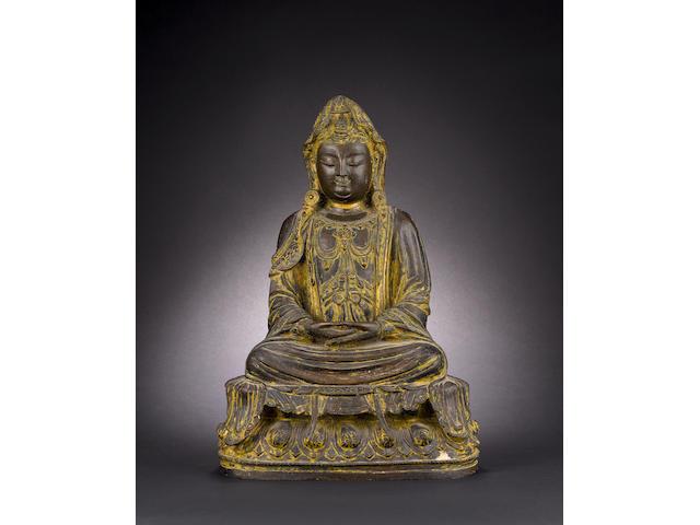 A bronze figure of a Buddhist Deity Ming/Qing Dynasty