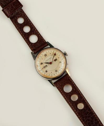 Movado: A stainless steel triple date calendar manual wind wristwatch Case No. B488847/14816