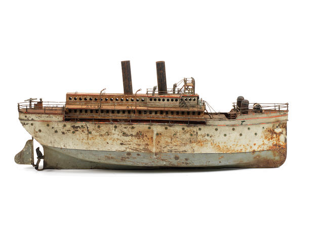 Large tinplate c/w three funnel Ocean Liner 'Aquitaine', probably Bing circa 1920