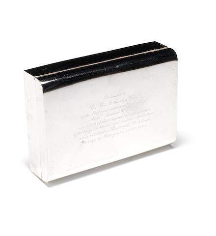 A silver presentation cigarette box, - Hon.A Morton Weir, Bank Line. 6.6x4.5x2ins. (17x11.5x5cm)
