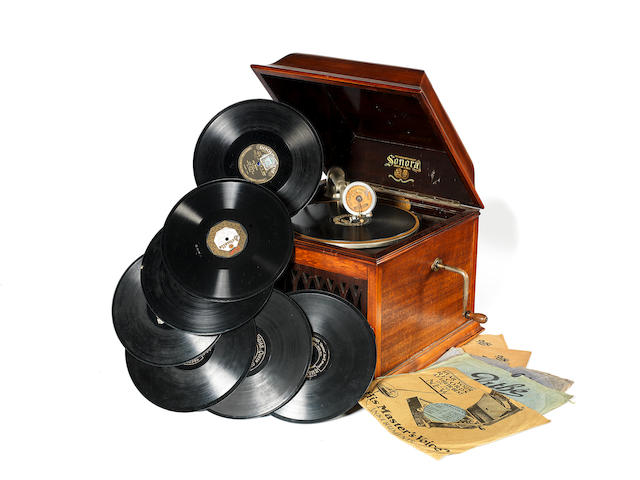 A Sonora table gramophone, with vertical cut and lateral cut soundbox attachments,