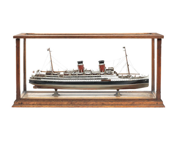 A cased model of the SS Alsatian 1913 25x12x8ins. (63.5x30x20cm)