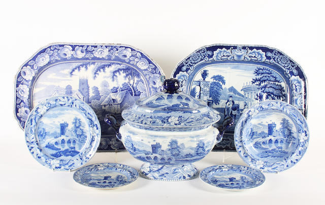 A group of blue printed earthenwares, 19th century