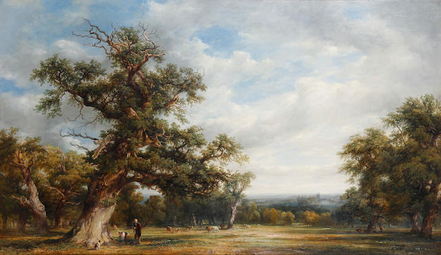 Attributed to Alfred Vickers Snr. (British, 1786-1868) A view of Windsor Great Park with Windsor Castle in the distance