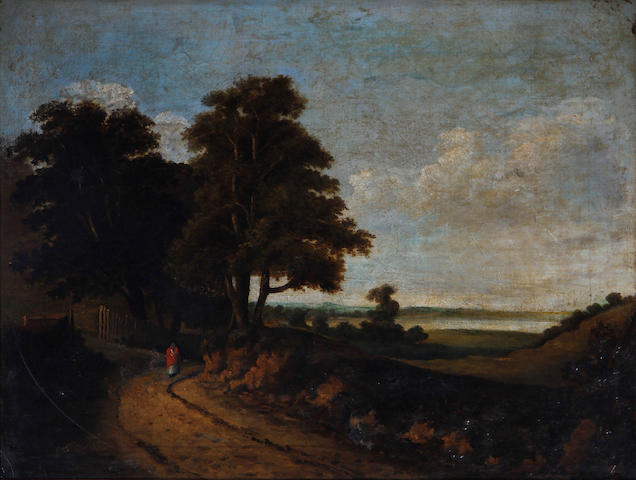 Continental School, 19th Century Figure on a country lane
