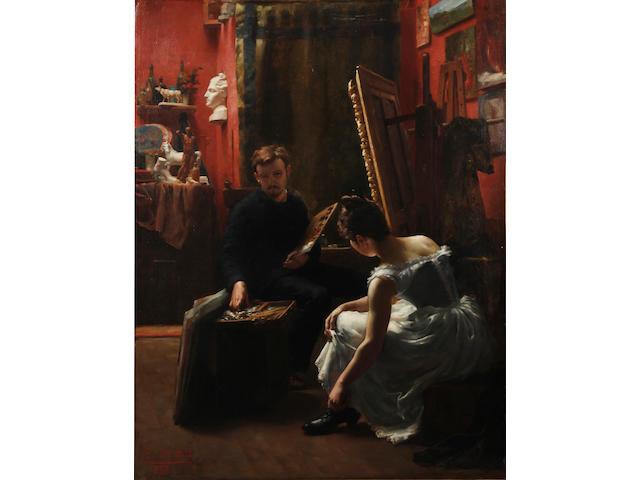 Edmond Alphonse Defonte (French, born 1862) The artist's studio