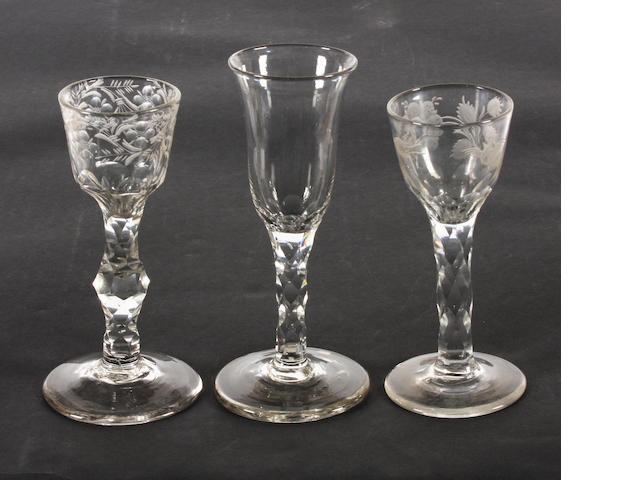 Three facet-stem wine glasses, circa 1770
