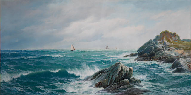 Edward Moore (British, 19th Century) Open seascape