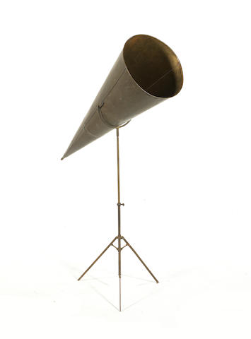 A brass phonograph Concert horn on stand, circa 1900,