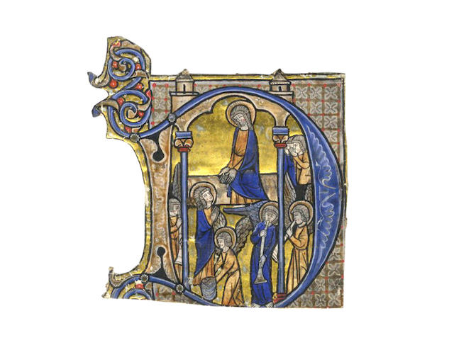 "ILLUMINATED MANUSCRIPT Large historiated illuminated initial ""D"", illustrating Christ welcoming a Saint, surrounded with four angels (three playing instruments), with two figures kneeling in prayer"