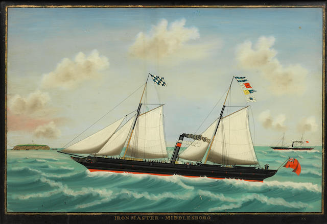 A 19th century reverse glass ship portrait, the Iron Master 16.5x24ins. (42x61cm)