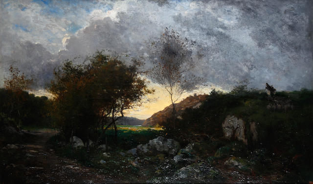 Charles Théodore Sauvageot (French, 1826-1883) Rural landscape