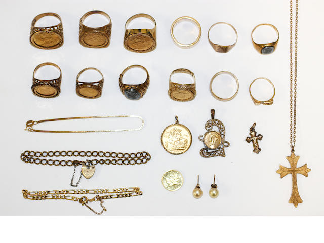 A mixed lot of gold jewellery