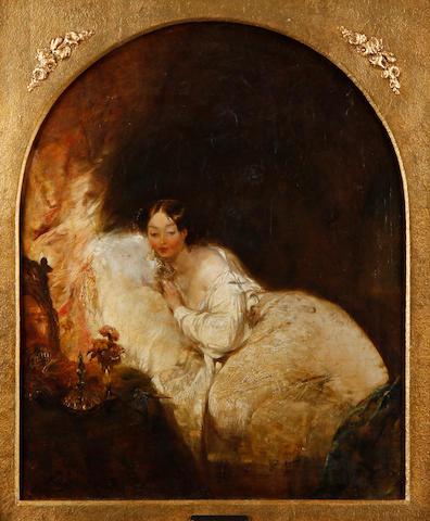John Burnet (British, 1784-1868) Reclining woman