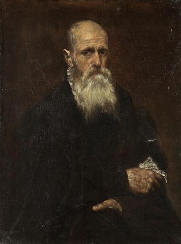 Venetian School, late 16th Century Portrait of a bearded gentleman, three-quarter-length unframed