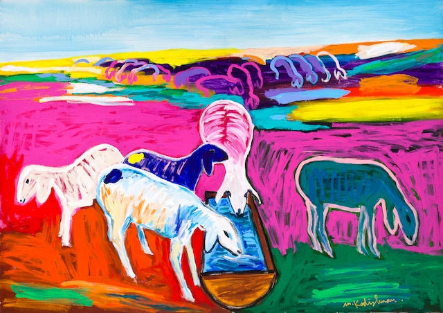 Menashe Kadishman (Israeli, born 1932) Five sheep drinking from a trough
