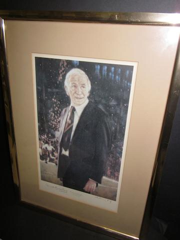 Matt Busby hand signed print Harold Riley A colour print of Matt Busby at Old Trafford hand signed by the artist and Matt Busby. Framed and glazed. Size approx. 49 x 36cm