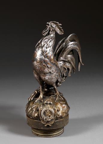 Rare mascotte 'Coq Hotchkiss' par Auguste Cain, fabrication Française, circa 1924,