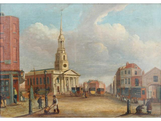 Daniel Turner (England, active 1782-1801) A pair of London views: Shoreditch Church; and Blackfriars Bridge)