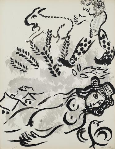 Marc Chagall (Russian/French, 1887-1985) Nu au chapeau ou le faune