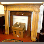 A George III pine and composition fire surround and another