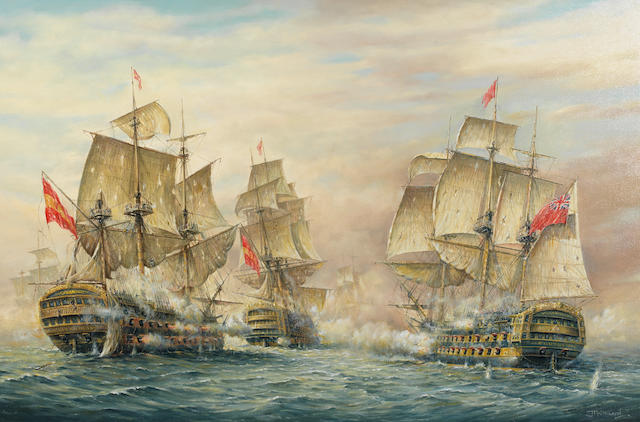 Jeff Pritchard (British) The Battle of Cape St Vincent 14 February 1797. Commodore Nelson engages the Spanish ships St Nicholas and St Josef