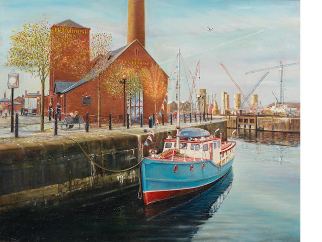 Jeff Pritchard (British) Albert Dock, Liverpool 15.5x19.5in.