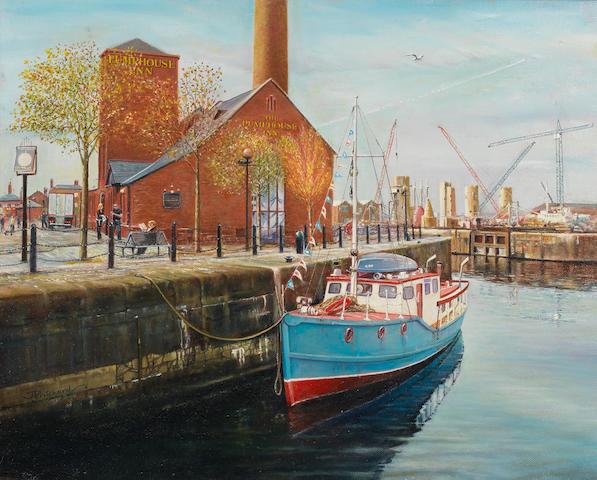 Jeff Pritchard (British) Albert Dock, Liverpool 15.5x19.5in.