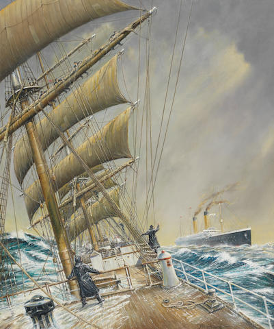 Jeff Pritchard (British) 'R.M.S. Oceanic' The Oceanic overtaking a windjammer at sea 23.5x19.5in.