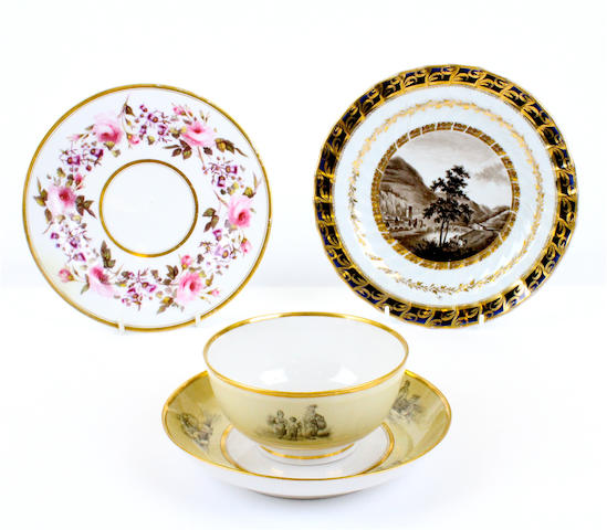 A Chamberlain plate, a Flight, Barr and Barr plate and a Barr, Flight and Barr slop bowl and saucer dish, circa 1820-40