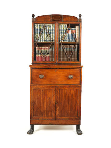A small Regency mahogany, satinwood and ebony line inlaid secretaire bookcase