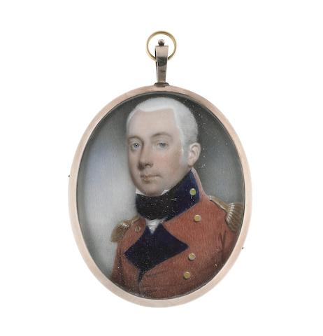 John Barry (British, active 1784-1827) An Officer, wearing red coat with blue facings, gold buttons and epaulettes, white chemise and black stock